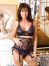 Voluptuous mom wears super sexy sheer lingerie