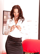 Anilos Marlyn removes her office attire and flaunts her alluring underwear set