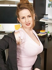 Busty Anilos Midori flaunts her tempting cleavage during her coffee break at the office