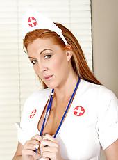 Matured milf morgan reigns flaunts her assets in her nurses uniform