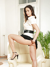 Classy Anilos Pepper pulls up her skirt and shows us her snug white panties