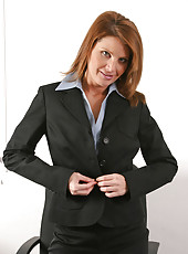 Captivating milf secretary rae rodgers reveals her super seductive lingerie under her business suit