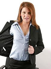 Captivating milf secretary rae rodgers reveals her super seductive lingerie under her business suit