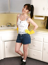Picture of a sexy anilos housewife doing her household chores and showing off