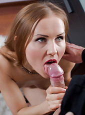 Naughty housewife lets her big dick neighbor cum in her sweet trimmed pussy