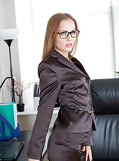 Hot secretary gets naughty at work and does a striptease