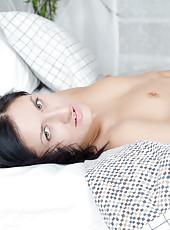 Hot mom next door with perky little tits spreads her pink twat wide open