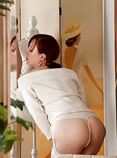 Naughty milf Scarlet Rose rubs her hairy pussy inside her undies