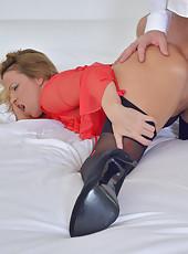 Insatiable mature milf sucks and fucks her mans throbbing hard cock