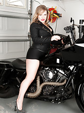 Badass biker mom gets naughty like a pin up on her motorcycle