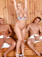 Busty Blonde Gets DP'd in the Sauna