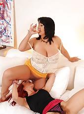 Big titty lesbians licking pussy