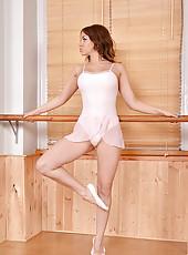 Ballerina Squats on a Pink Vibrator