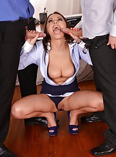 Sexy Assistant Sucks Off Two Cocks