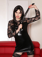 Mistress Stuffs Slavegirl's Holes