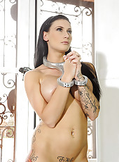 Girl In Silver Collar & Cuffs Pees