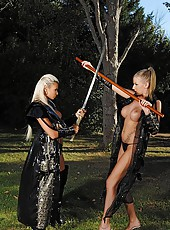 Samurai Girls Sucking On Swords
