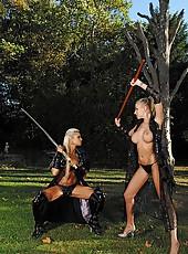 Samurai Girls Sucking On Swords