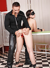 Hot French babe gets blindfolded