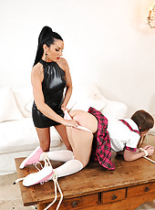 School girl Grace gets spanked hard