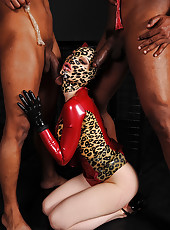Hot latex babe takes on two guys!