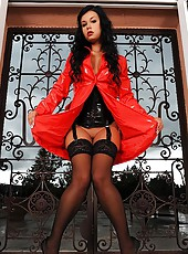 Beauty in red latex coat strips!