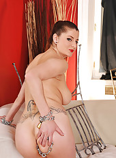 Sexy Angie masturbating with chains