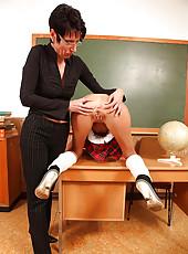 Sexy schoolgirl gets spanked hard