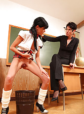 Sexy schoolgirl gets spanked hard