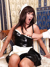 Nasty maid Lisa spanked in latex