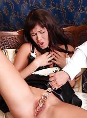 Nasty maid Lisa spanked in latex