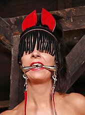Sexy hot babe Annett peeing in barn
