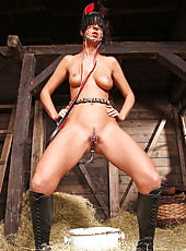 Sexy hot babe Annett peeing in barn