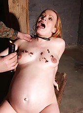Pregnant Sunny gets spanked & waxed