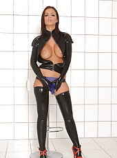 Black Angelica dildoing in latex