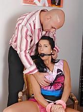 Bound babe Melissa Ria gets spanked