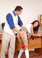 Schoolgirl Abelia gets spanked hard