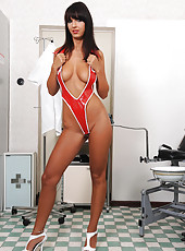 Nasty nurse Annett toying her pussy