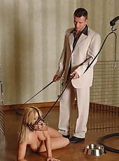 Sexy Valentina Blue spanked as dog