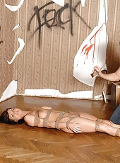 Bound babe Roxy Taggart gets toyed