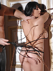 Black-haired bound Alison spanked