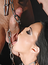 Bound babe Liz sucking hard cock