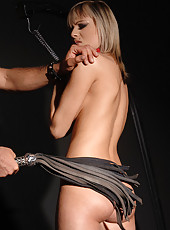 Blonde Szofya Cox bound & whipped