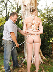 Blonde Danielle Maye bound tight