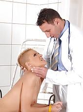 Blonde C J gets spanked by doctor