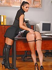 Lucy Belle spanking Liana