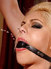 Blond Valentina gets bound & pisses