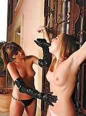 Slim beauties play bondage spanking