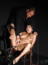 Yoha in chains gets machine fucked