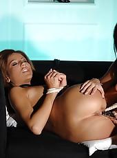 Slim young chicks play hot bondage
